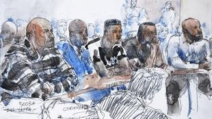 This courtsketch made on September 6, 2018, shows French rappers Booba (L) and Kaaris (R) sitting with other defendants in a courtroom at the courthouse of Creteil, near Paris, as they appear following a brawl in August 2018 at the Orly airport .