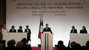 Emmanuel Macron lors de son discours pour la Journée internationale de lutte contre les violences à l'égard des femmes.