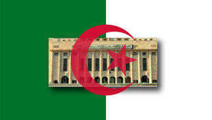 Le drapeau et l'Assemblée nationale algériens