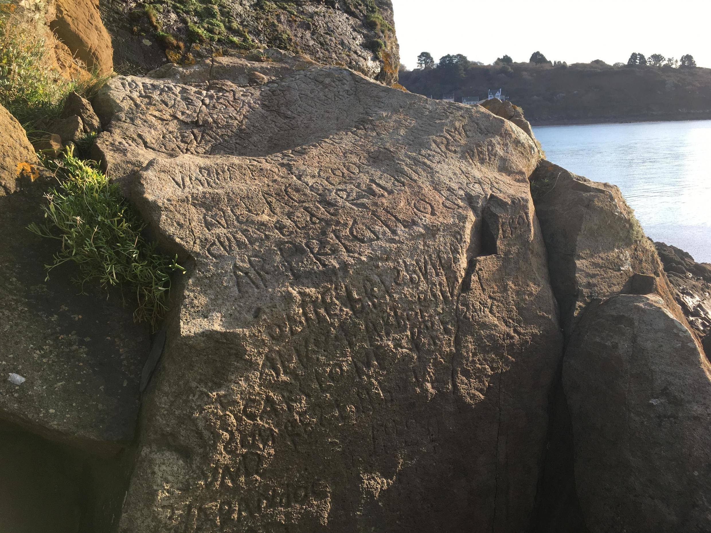 """A mysterious engraving on a rock on the coast of Brittany has baffled the surrounding community for generations. It's known locally as the """"rocher du Caro"""", after the village of Le Caro across the bay, in the municipality of Plougastel-Daoulas."""