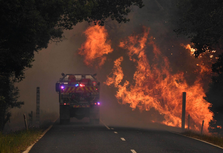 Incêndio em Nana Glen, perto de Coffs Harbour, Austrália, 12 de novembro de 2019.