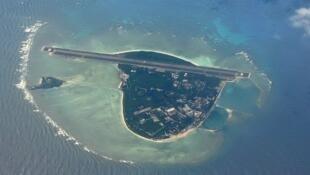 Ảnh chụp từ vệ tinh đảo Phú Lâm, Hoàng Sa  hiện do Trung Quốc  chiếm giữ.