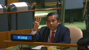 Myanmar's ambassador to the UN Kyaw Moe Tun making a three-finger protest salute on February 26, 2021 -- he has rejected the junta's claim he has been sacked
