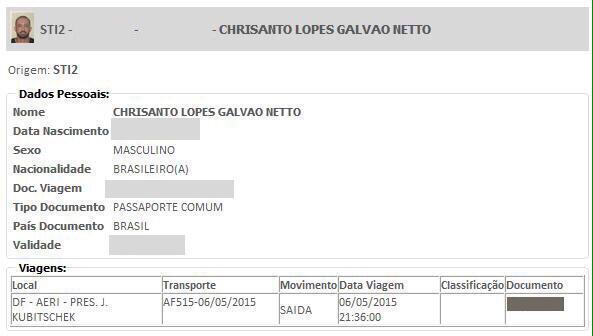 Registro da Polícia Federal que comprova a saída do empresário Chrisanto Galvão Netto do Brasil