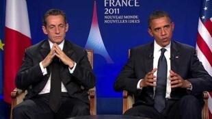 El presidente estadounidense Barack Obama y su par francés Nicolas Sarkozy, el 4 de noviembre de 2011 en Cannes.