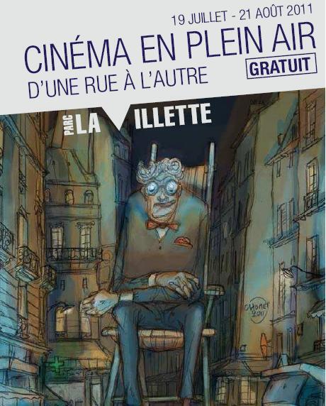 Cartaz do Festival de Cinema ao Ar Livre, no parque de La Villette, em Paris.