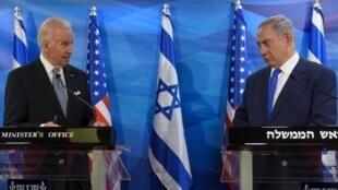 Le vice-président américain Joe Biden et le Premier ministre israélien Benyamin Netanyahu, à Jérusalem, le 9 mars 2016.