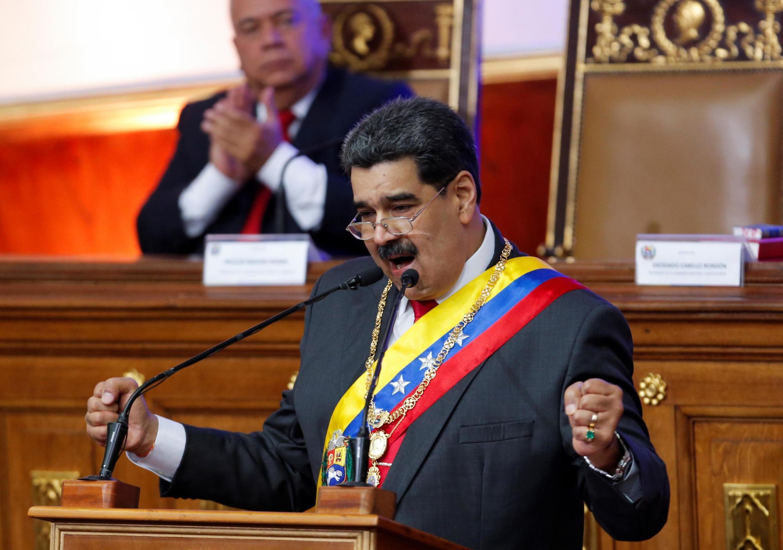 Le président vénézuélien Nicolas Maduro devant le Parlement à Caracas le 14 janvier 2020.