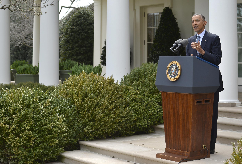 Le président des Etats-Unis, Barack Obama, à la Maison Blanche le 2 avril 2015, lors de sa déclaration après l'accord-cadre conclu à Lausanne sur le nucléaire iranien.