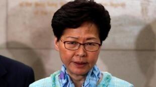 香港行政长官林郑月娥在警察总部见传媒。2019-07-02