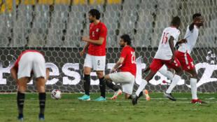 Michael Olunga vient d'égaliser contre l'Égypte pour le Kenya (1-1). Le 14 novembre 2019.