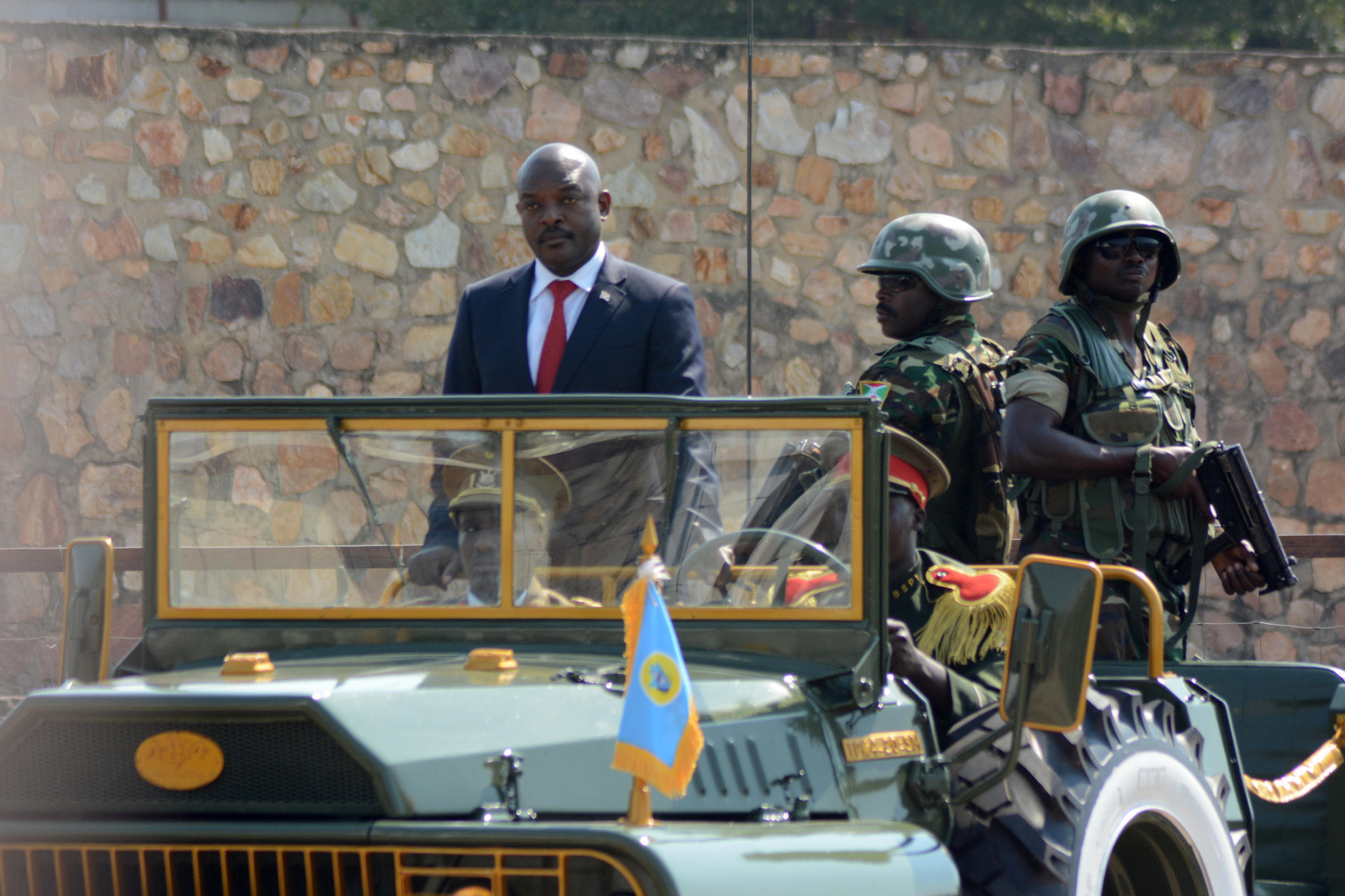 President Nkurunziza stands in a military vehicle during Burundi's Independence Day celebrations in Bujumbura, 1 July 2016.