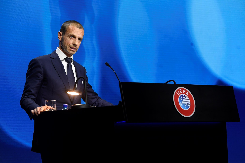 Le président de l'UEFA, Aleksander Ceferin, au congrès de Montreux, le 20 avril 2021