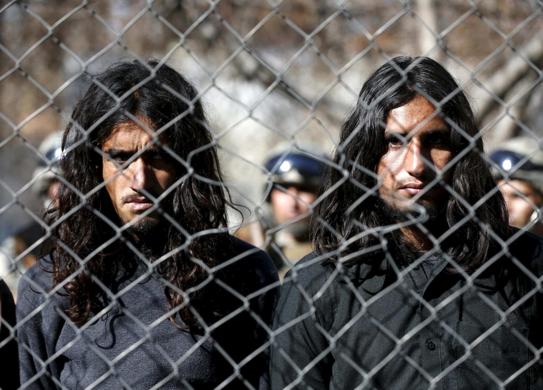 阿富汗邊境警察抓捕的塔利班武裝人員