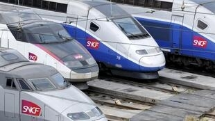 TGV high speed trains at the garage during the coronavirus lockdown in France