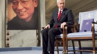 Cadeira vazia de Liu Xiaobo na cerimónia de entrega do Prémio Nobel da Paz, em Oslo, a 10 de Dewembro de 2010.