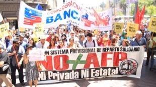 Manifestación contra las Administradoras de Fondos de Pensiones (AFP) en Chile, agosto 2016