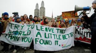 Manifestation des jeunes contre le changement climatique, le 2 février 2019, à Zurich.