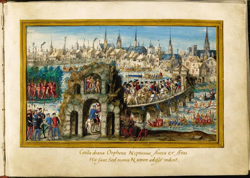 L'estampe (1550) montre l'entrée royale d'Henri II à Rouen. Certains des Indiens Tupinamba du Brésil étaient des marins français déguisés.