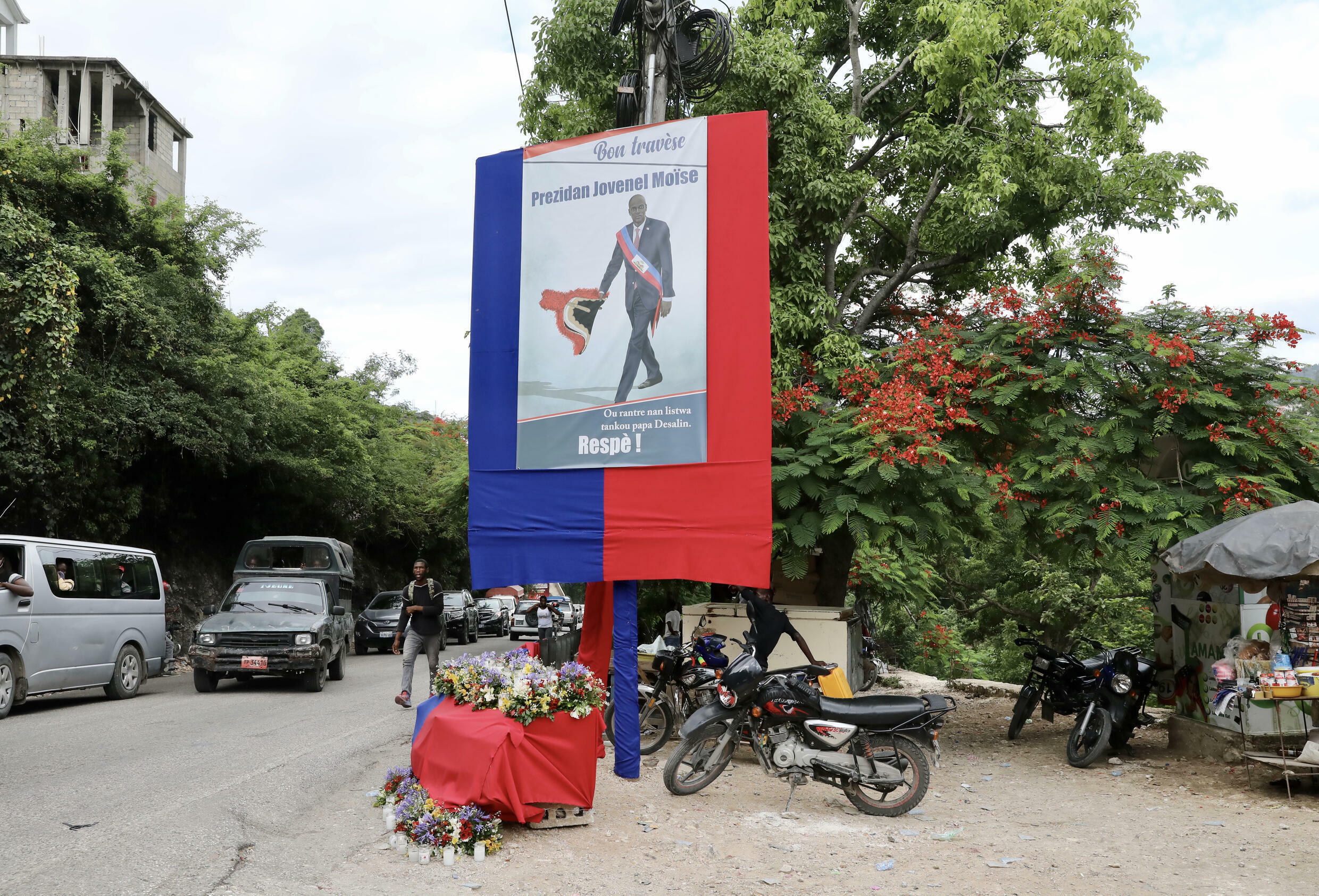 A tribute to late Haitian President Jovenel Moise is seen outside his home in Port-au-Prince