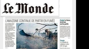 """""""A Amazônia continua queimando"""" é a manchete do jornal Le Monde em sua edição de segunda-feira 9 de setembro de 2019."""