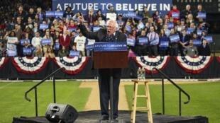O  democrata  Bernie Sanders, num comício em Seattle, Estado de Washington.25 de Março de 2016