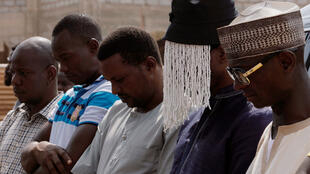 Anas prays for Hussein-Suale alongside other mourners at Madina Central Mosque in Accra on 18 January 2019.