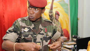 Guinea's military junta chief, Captain Moussa Dadis Camara gestures during a meeting on September 30, 2009 in Conakry.
