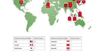 Bản đồ các nước nạn nhân của chiến dịch tấn công tin học Shady RAT.