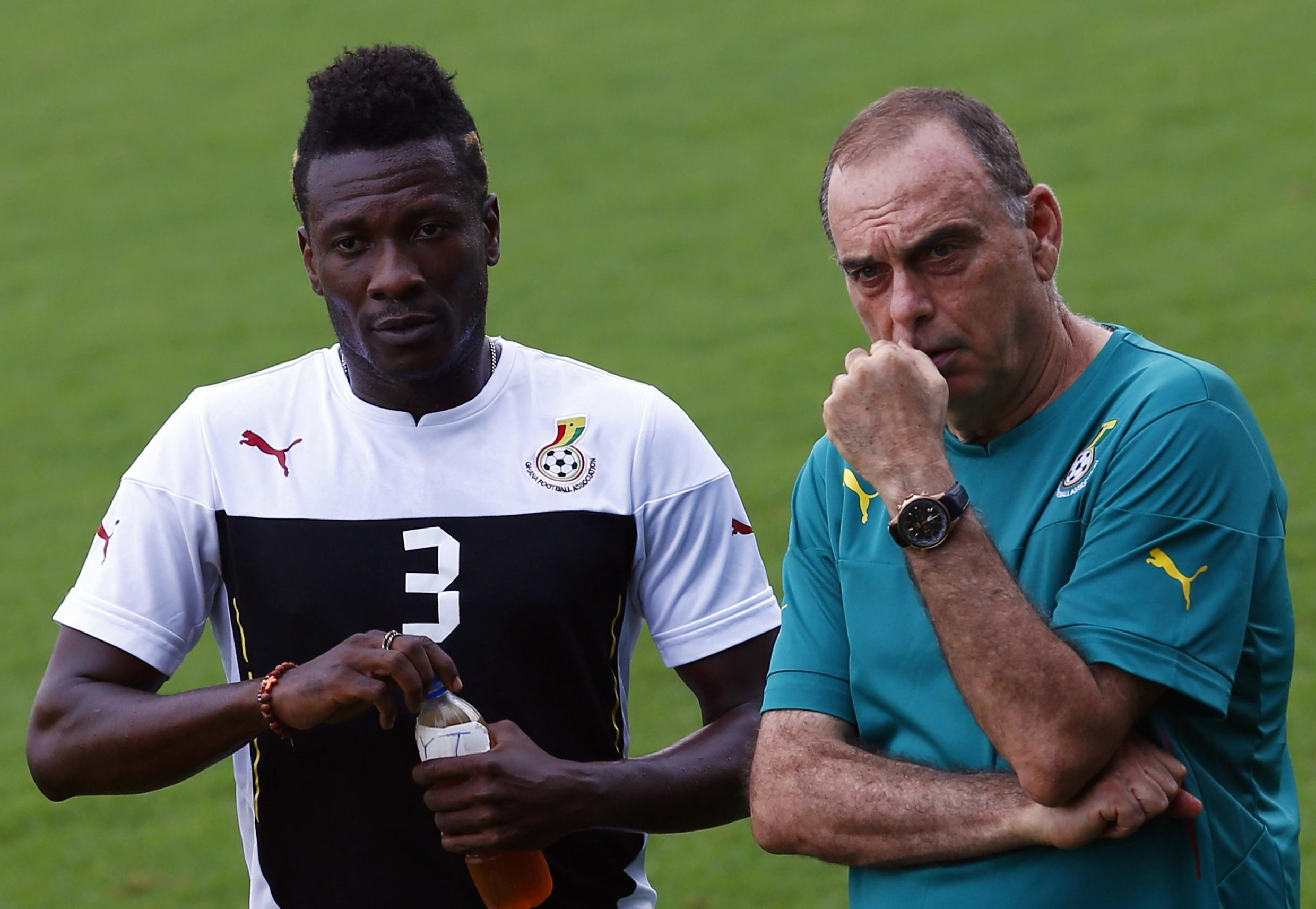 Ghana coach Avram Grant (right) said injuries to key players such as his skipper Asamoah Gyan (left) had derailed Ghana's quest for a fifth Cup of Nations trophy.