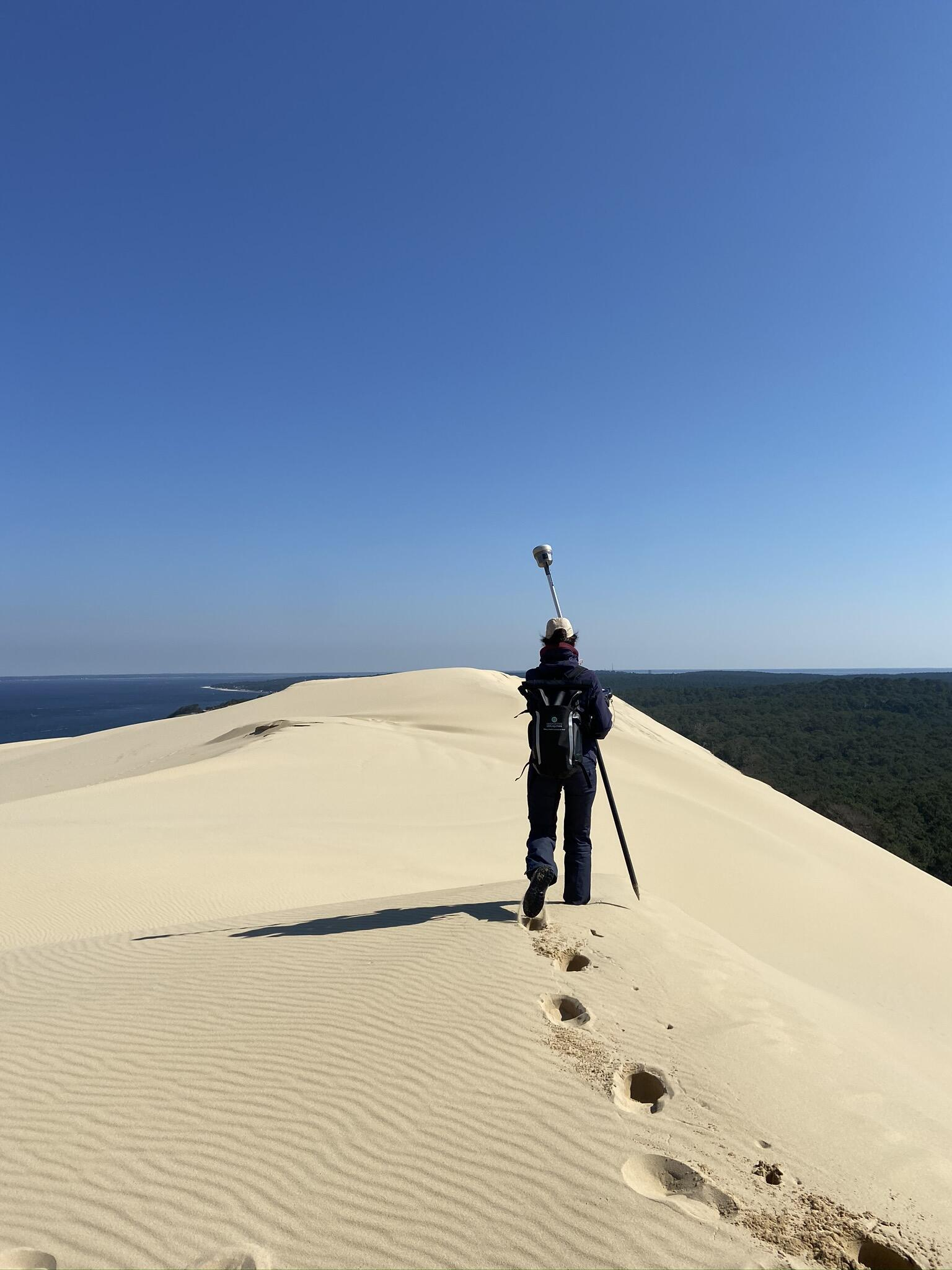 A scientist at the top of the Dunes du Pilat, southwestern France.
