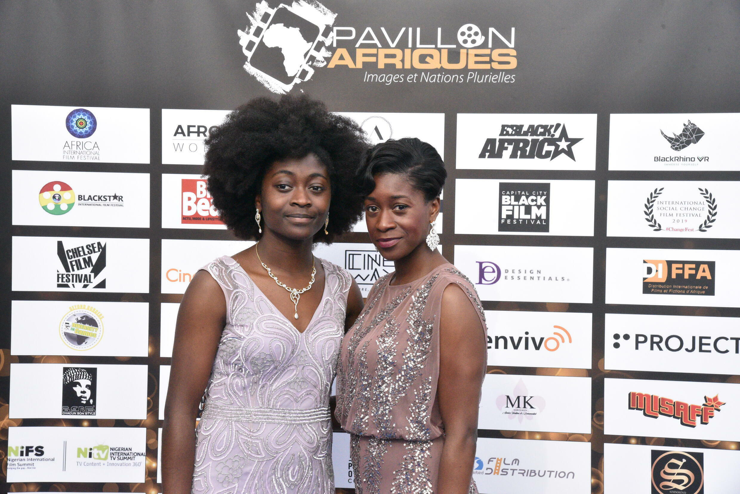 Actress Adetinpo Thomas (R) and Adesola Thomas (L) at the Pavillon Afriques stand, Cannes Marché du Film, May 2019