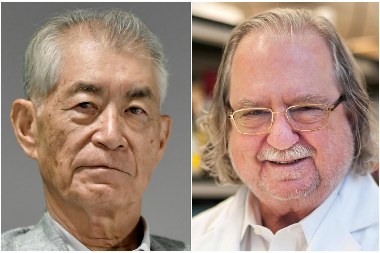 Ảnh ghép: James P. Allison (P) thuộc trung tâm ung thư MD Anderson tại Đại Học Texas và Tasuku Honjo, Đại Học Kyoto (Kyoto - Nhật Bản)./09/2018)