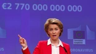 La presidenta de la Comisión Europea, Ursula von der Leyen, el 2 de abril de 2020 en Bruselas