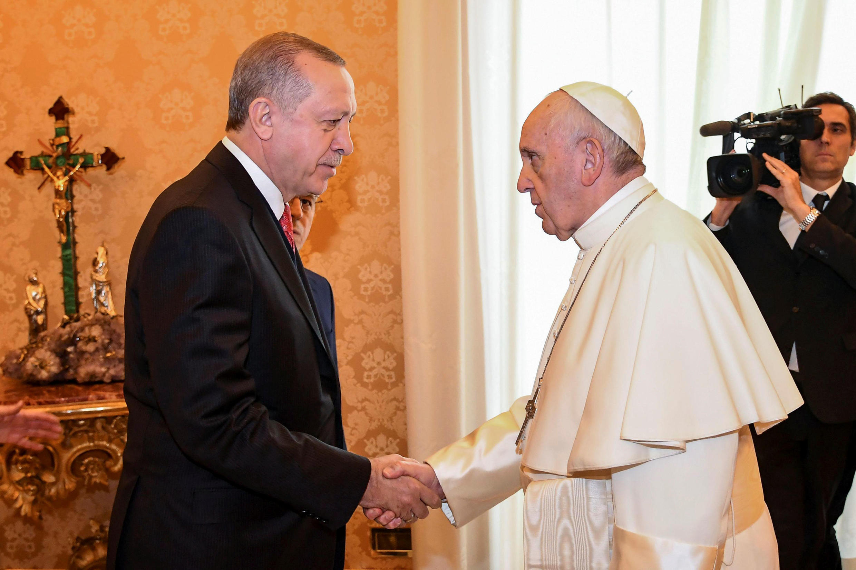 Папа римский Франциск принял президента Турции Реджепа Тайипа Эрдогана в Апостольском дворце, Ватикан, 5 февраля 2018.