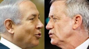 """Montaje con imágenes de archivo del primer ministro israelí, Benjamin Netanyahu (I), y del jefe del partido """"Azul-Blanco"""" Benny Gantz (D)"""