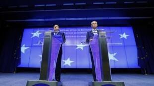 2014年3月6日欧盟理事会主席范龙佩及欧盟执委会主席巴罗佐在欧盟理事会总部举行记者会