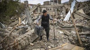 Au Haut-Karabakh, la capitale Stepanakert sous des bombardements le 10 octobre 2020.