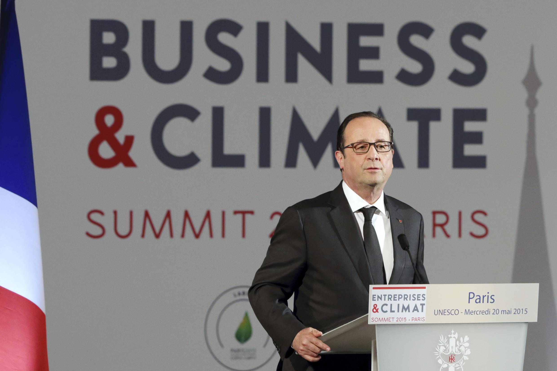François Hollande lors de l'ouverture du Sommet entreprises et climat au siège de l'Unesco à Paris, le 20 mai 2015.