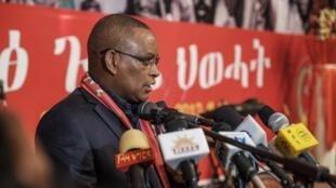 Debretsion Gebremichael, kiongozi wa chama cha Tigray People's Liberation Front akizungumza wakati wa mkutano wa chama Januari 4, 2020 huko Mekelle (picha ya kumbukumbu).