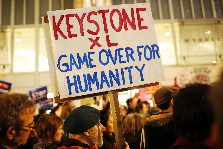 Des opposants au projet Keystone XL à San Francisco, le 3 février 2014.