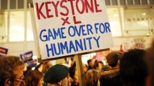 Des opposants au projet Keystone XL à San Francisco en 2014.