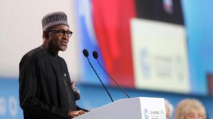 Muhammadu Buhari, le président nigérian, fait un discours à l'occasion de la COP 24 à Katowice, le 3 décembre 2018.