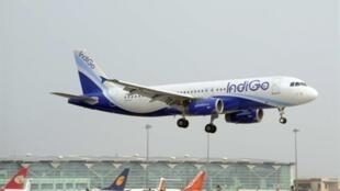 A low cost IndiGo aeroplane landing at New Delhi airport