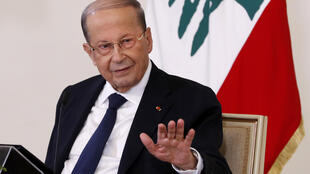 Lebanese President Michel Aoun holds a televised press conference at the presidential palace in Baabda, east of the capital Beirut