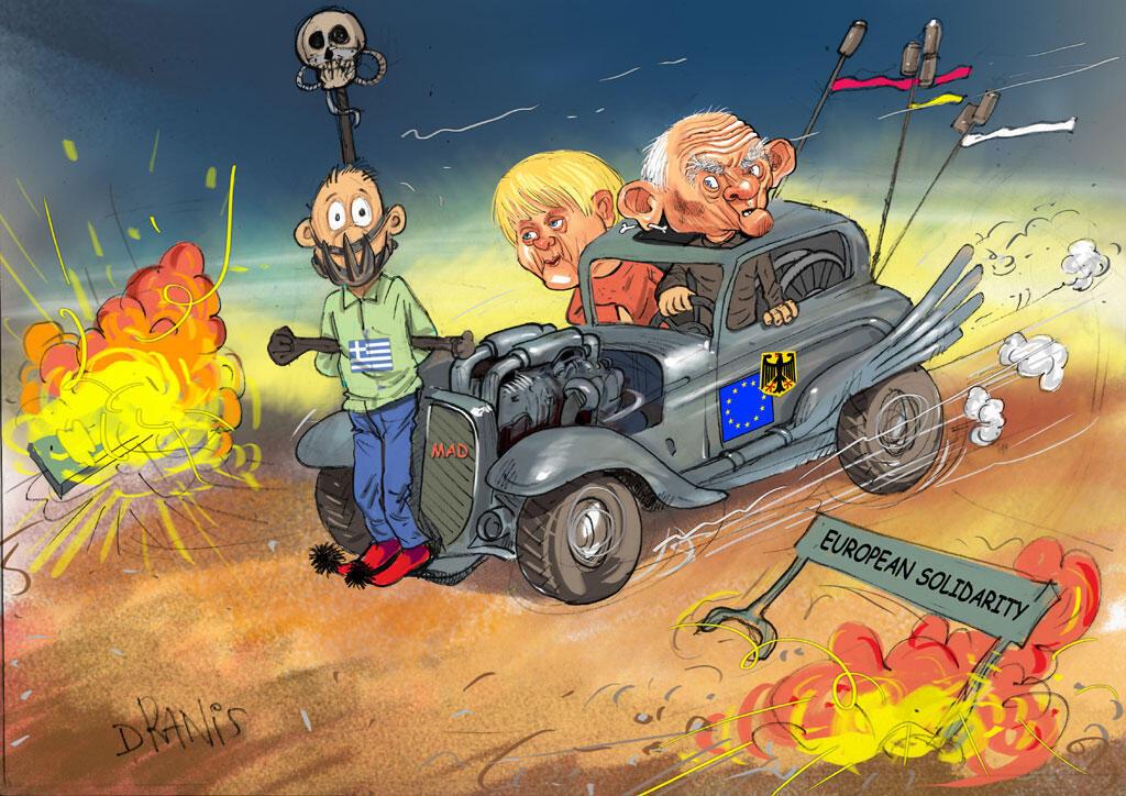 L'une des caricatures grecques censurées par le Parlement européen. Pour l'eurodéputé Stelios Kouloglo, à l'origine de cette exposition, c'était « tout ou rien ». L'exposition a été annulée.