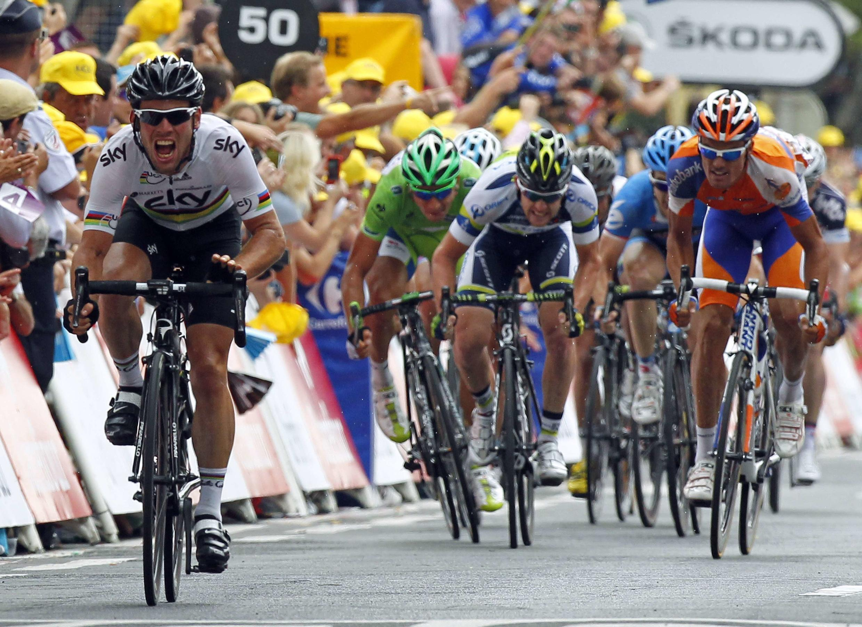 Mark Cavendish n'a fait qu'une bouchée de ses adversaires à Brive-la-Gaillarde, le 20 juillet 2012.