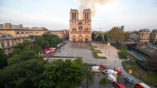 Notre Dame, el día del incendio, 15 de abril, 2019.