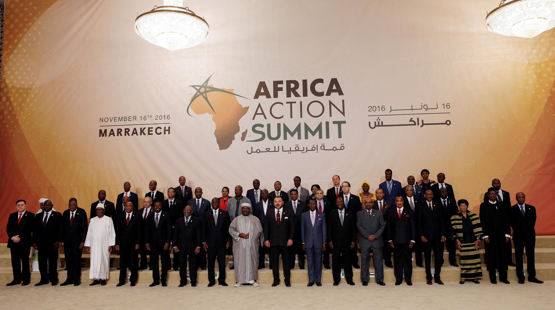 Photo de famille des leaders africains présents à Marrakech.