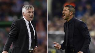 Carlo Ancelotti, l'entraîneur du Real Madrid (à gauche) et Diego Simeone, le coach de l'Atletico Madrid à droite).